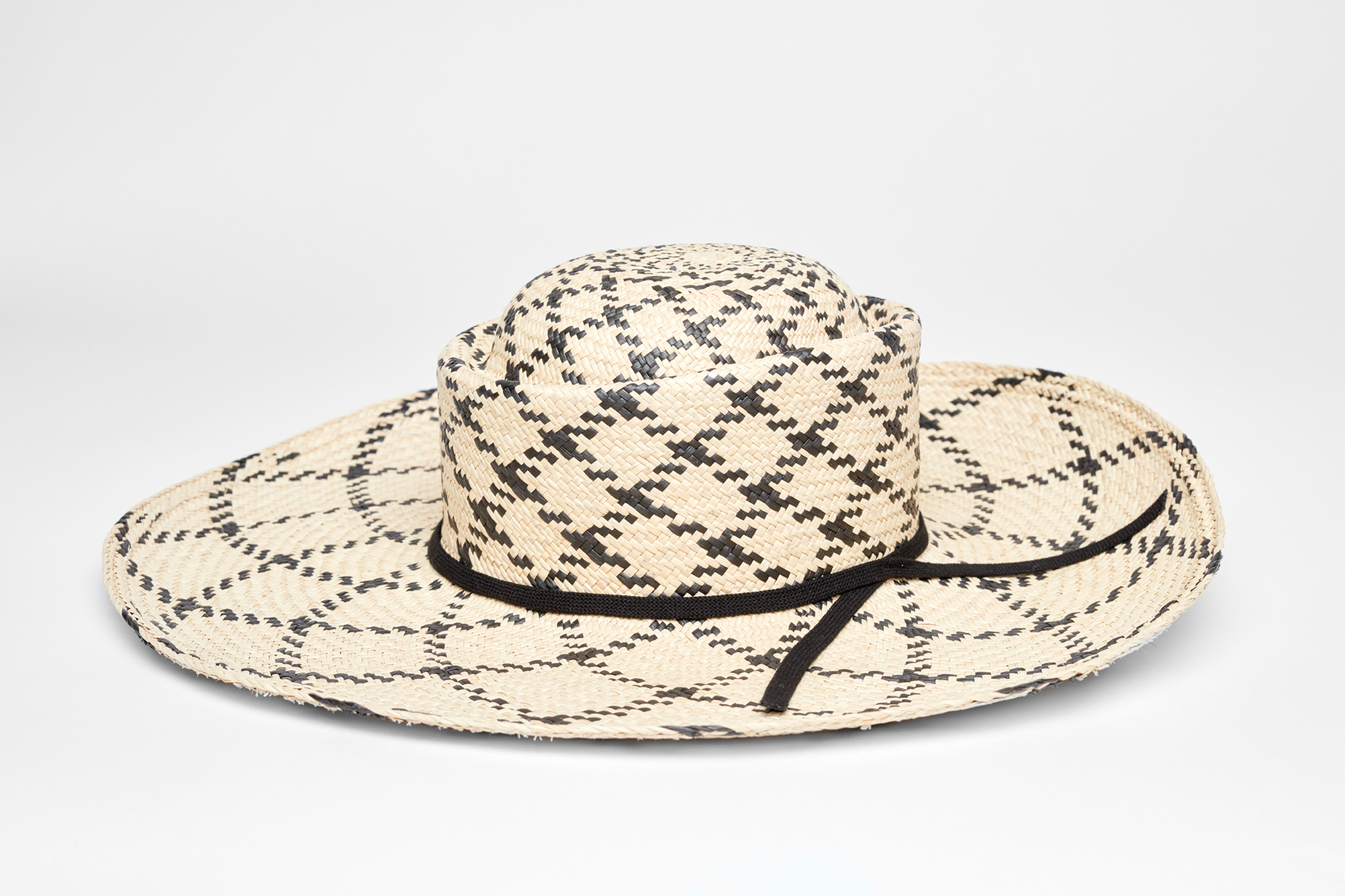 9d9b77a2ec74dd Anthony Peto – Lucky Jim wide brim panama in black and cream checkers -€170